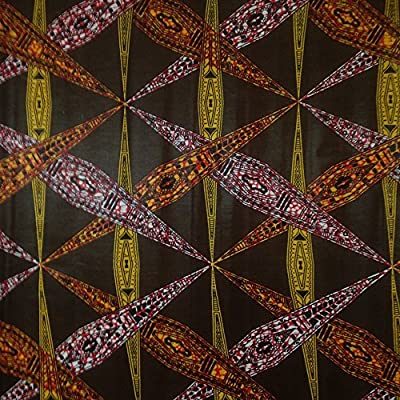 African Print Fabric Cotton Print Affix Brown 44'' wide By The Yard Brown Yellow