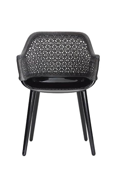 Magis Cyborg Armchair, Glossy Black/Black Wicker