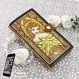 美女と野獣/ベル[iPhone6ケース]レザー製アイフォン6手帳型カバー/ステンドグラスコレクション ディズニー