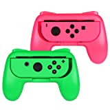 Fintie Grip for Nintendo Switch Joy-Con, [Ergonomic Design] Wear-Resistant Comfort Game Controller Handle Kit for Nintendo Switch Joy Con (2-Pack), Pink Green (Color: Pink Green)