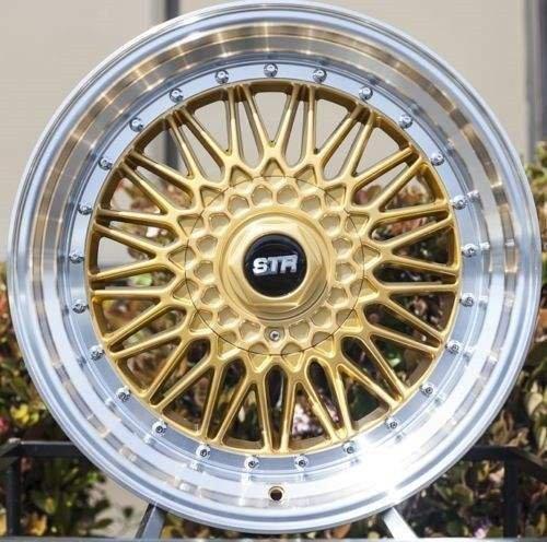 15X8 STR 606 GOLD MACHINED LIP FACE RIM WHEEL MIATA CIVIC custom wheel drill (Miata Rims compare prices)