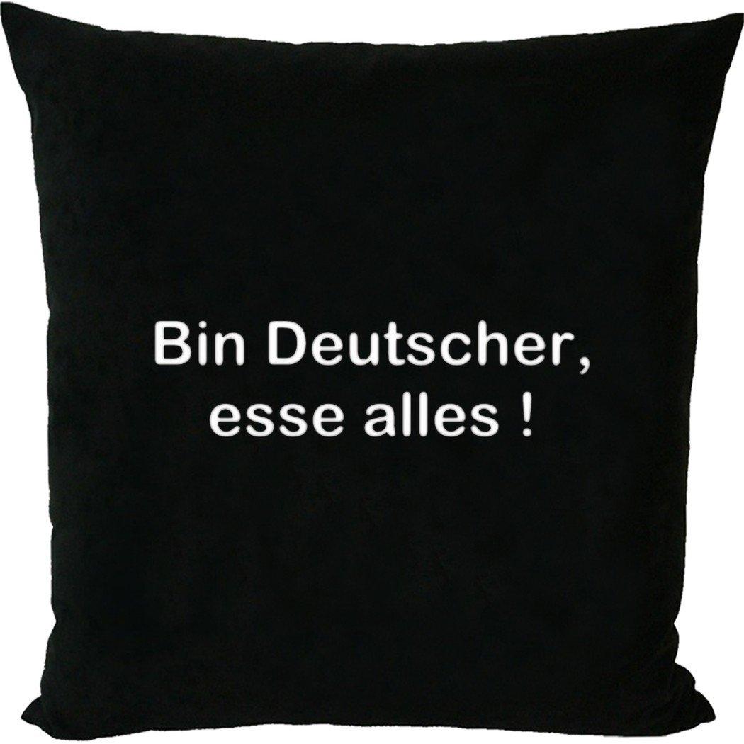 Kissen mit Füllung / Sofakissen mit Spruch – Bin Deutscher, esse alles ! – Protest gegen Lebensmittelskandale – Witzige Sprüche online bestellen