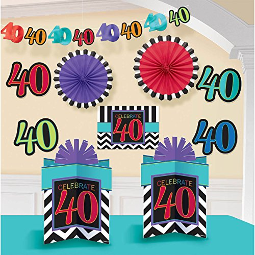 Amscan Lively Decorating Kit with 40th Celebration Theme, Red/Violet/Cyan Blue/Blue/Yellow Green
