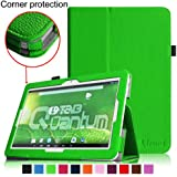[Corner Protection] Fintie Matricom G-Tab 10.1 Folio Case - Premium PU Leather Cover with Stylus Holder for Matricom G-Tab Quantum / Matricom G-Tab Iota 10.1-Inch Android Tablet - Green