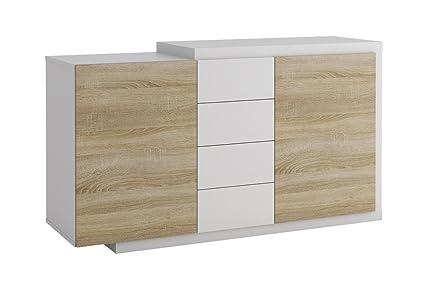 Kommode Ruma 09, Farbe: Sonoma Eiche / Weiß - Abmessungen: 130 x 80 x 36 cm (B x H x T)