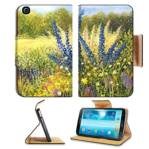 Samsung Galaxy Tab 3 8.0 Flip Case Vibrant wild flowers with beautiful blue Delphiniums in a bright sunny day painted IMAGE 16859890 by MSD Customized Premium Deluxe Pu Leather generation Accessories