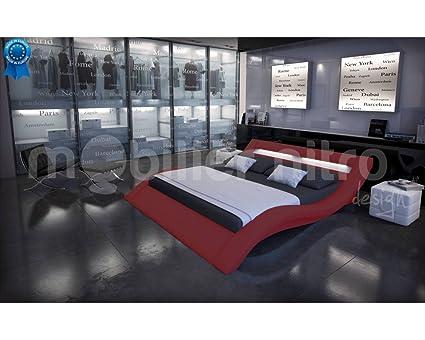 Lit design lumineux Sydney Rouge 180cmx200cm Sans matelas Avec sommier