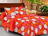 Casa Basics - Ezy Collection Orange & Yellow Floral Cotton Double Bedsheet With 2 Pillow Covers-144Tc