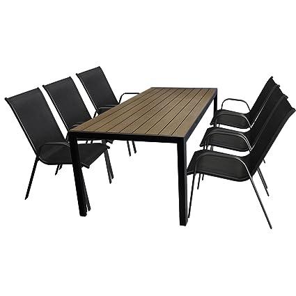 7tlg. Gartengarnitur Aluminium Gartentisch, Tischplatte Polywood, Braun, 205x90cm + 6x Stapelstuhl, Textilenbespannung in Schwarz - Gartenmöbel Set Sitzgarnitur Sitzgruppe