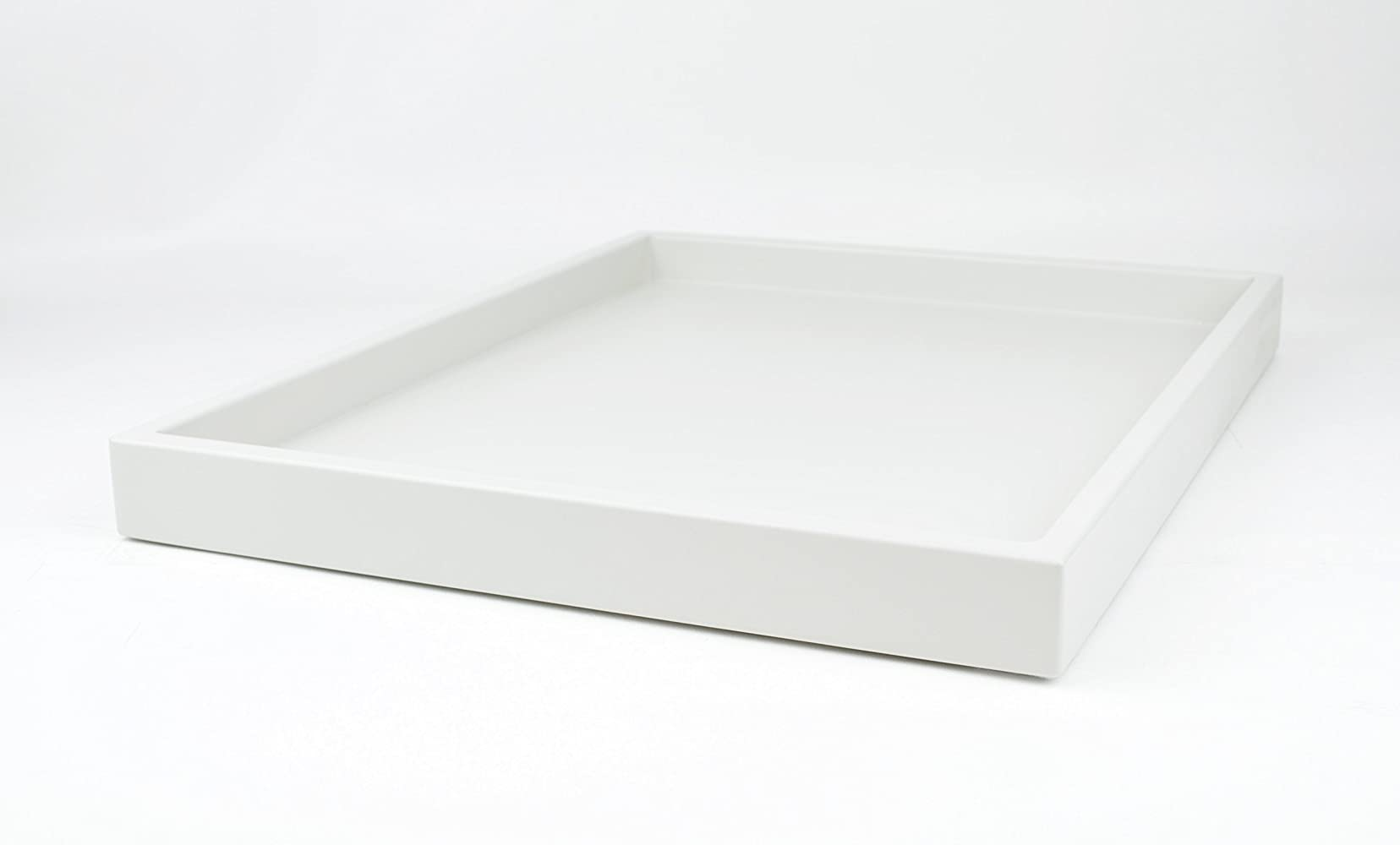 Decorative Minimalist Tray White Matte Lacquer 18 in. by 14 in. Shallow Low-profile Tray