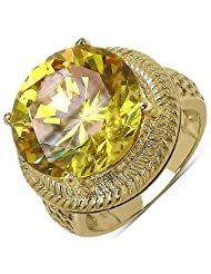 Suraabi 18.64CTW Yellow Cubic Zirconia 14K Yellow Gold Plated Brass Ring For Women