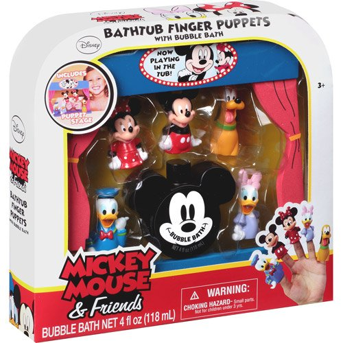 Disney Mickey Mouse & Friends Bathtub Finger Puppets With Bubble Bath, 7 Pc front-1016752