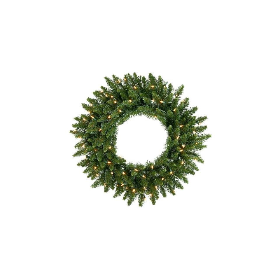 24 Pre Lit Camdon Fir Artificial Christmas Wreath   Clear Dura Lit Lights