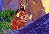 MCG Textiles 52557 Piece Disney Dreams collection Pumbaa and Timon Vignette Counted Cross Stitch Kit Item  , Multi-Colored