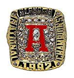 UNIVERSITY OF ALABAMA (George Teague) 1992 NCAA NATIONAL CHAMPIONS (Sugar Bowl) Rare & Collectible High-Quality Replica College Football Championship Gold Ring