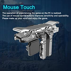 Mobile Game Controller (Metal Transparent), Sensitive Click Shoot and Aim Buttons L1R1 for PUBG/Knives Out/Rules of Survival, PUBG Mobile Game Joystick, Phone Game Controller for Android iOS (Crystal) (Color: Crystal)