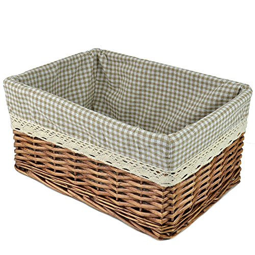Willow Wicker Storage Basket With Liner For Home: RURALITY Willow Wicker Storage Basket With Liner, Coffee