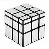 D-FantiX Shengshou Mirror Cube 3x3 Speed Cube Unequal Puzzle Silver Black 57mm (Color: Silver)