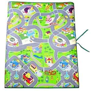 120cm x 100cm Childrens Playmat Cool Town Design EVA Non-Slip Kids Cars Trains