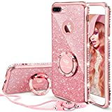 iPhone 7 Plus Case, iPhone 8 Plus Case, Glitter Cute Phone Case Girls with Kickstand, Bling Diamond Rhinestone Bumper Ring Stand Protective Pink iPhone 7 Plus/ 8 Plus Case for Girl Women - Rose Gold