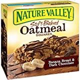 Nature Valley Soft-Baked Oatmeal Squares, Banana Bread and Dark Chocolate, 6 Count (Pack of 3)