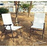 HomeStore Global, Lot de 2 chaises de jardin pliables - Très confortables et fonctionnelles, Blanc -- supplémentaire pour -- Salon de jardin 1 table et 2 chaises pliables Bistro