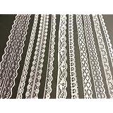 White Vintage Lace - 20 metre assortment, Bridal Wedding Trim Ribbon by Crystals & Gems UK