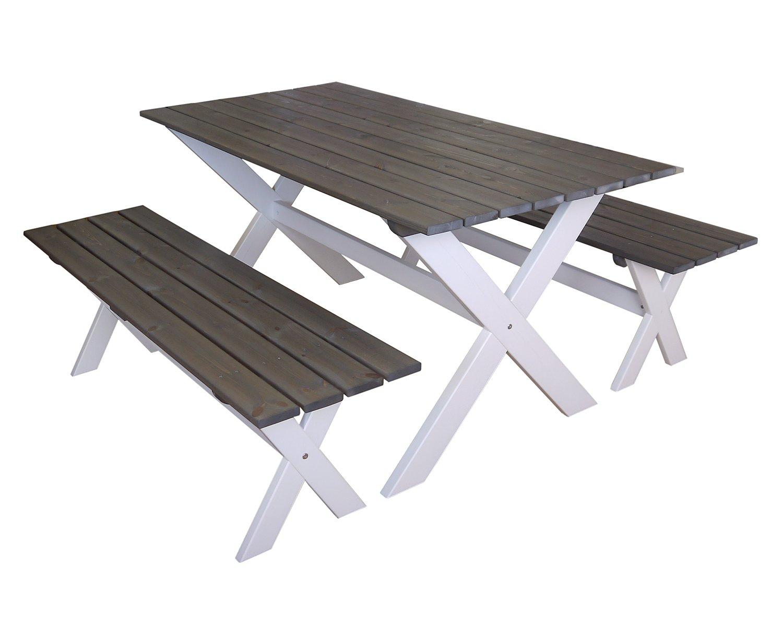 GARTENFREUDE Gartenmöbel Gartenset Garnitur Sitzgruppe Gartengarnitur 3-teilig, Tisch 150 x 80 cm und 2 Bänke 140 cm aus Kiefernholz aus Europa, weiß-aschgrau kaufen