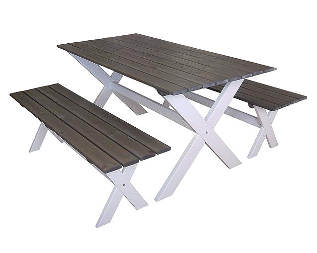 Gartenfreude 150x 80cm mobili da giardino tavolo e 2panche 140cm, frassino bianco