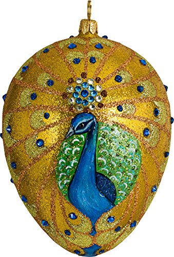 Golden Peacock Jeweled Egg Ornament by Joy to the World