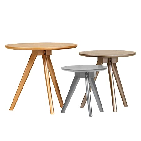 Stylefurniture 7547 3-er Set Couchtische, Holz, shiny, 50 x 50 x 45 cm