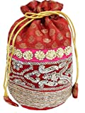 GiftPiper Embroidered Stone Work Potli-Maroon&Red