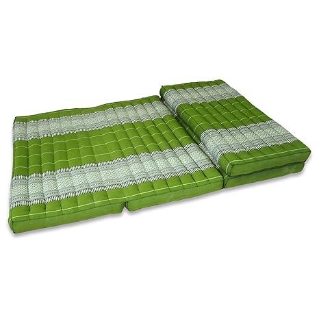 Thai taichí 200 x 100 x 8 cm sofá verde flores cuatro capas rellena de Thai cojín colchoneta plegable