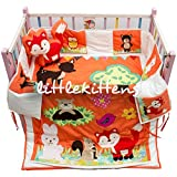 Littlekittens - My jungle Friends (Orange & White color) - Crib Bedding Set (7 Pcs)