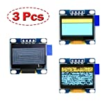 OLED Display Arduino Screen 0.96 inch 128x64 2pcs Blue&Yellow 1pc White (3pcs)