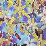 YESURPRISE カラフルな花柄 ステンドグラス風 目隠し ウィンドウフィルム グラスシール 水接着タイプ 窓ステッカーP133 1.5M