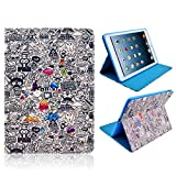 New Blue Graffiti Case for Apple iPad 2 3 or 4. Stylish Scribble Writing Case to Protect your Tablet. Folding Folio Flip Cover with Foldable Stand for Hands Free Viewing. Smart Fashion Sleeve Bag Protector PU Leather with TPU Holder to Keep your iPad Sec