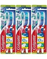 Colgate - Brosse à Dents Triple Action - Medium - couleur aléatoire - Lot de 3