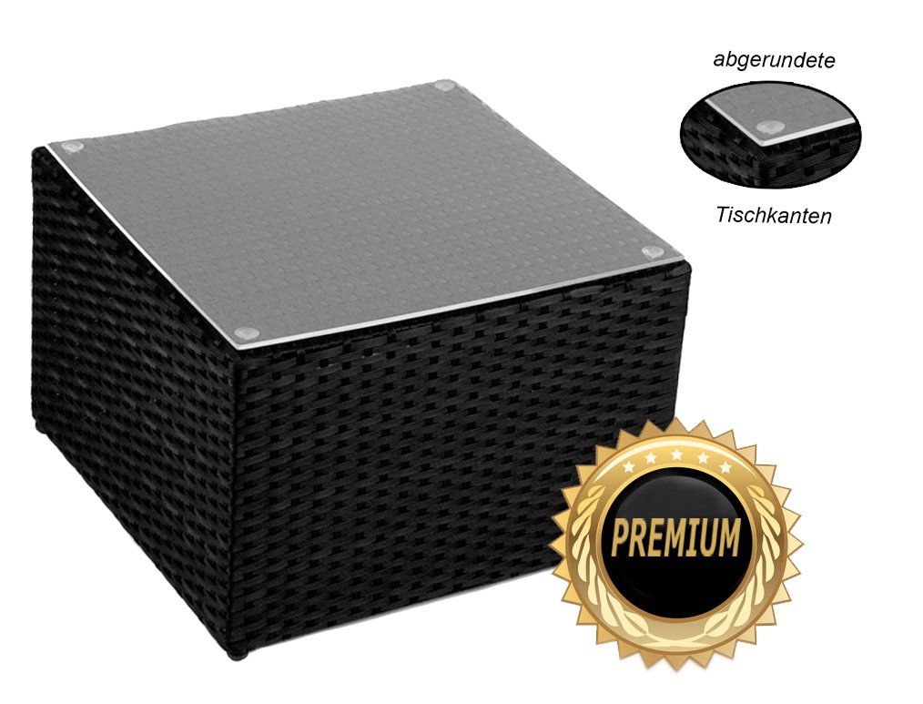 Alu- Beistelltisch inkl. Plexiglasplatte,4 x verstellbare Füße (auch als Hocker nutzbar (90 kg) ohne Plexiglasplatte)zur KombinationRattan Sonnenliege, Liege, Loungeaus hochwertigem Polyrattan, Farbe: Schwarz, Material: Aluminium mit integrierten Spannbänder für eine weiche Sitzfläche. jetzt kaufen