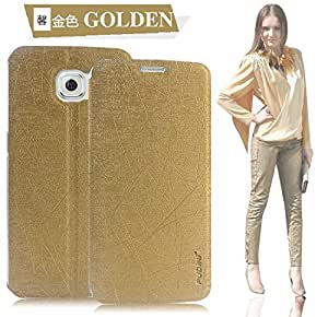 Pudini Yusi Rain Series Flip Cover Case for Samsung Galaxy S6 - Golden - Free Screen Guard
