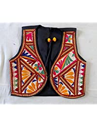 Megh Craft Women's Indian Boho Hippie Banjara Style Style Gypsy Embroidery Jacket - Koti - Vest