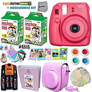 FujiFilm Instax Mini 8 Camera + Accessories KIT for Fujifilm Instax Mini 8 Camera includes: 40 Instax Film + Custom Case + 4 AA Rechargeable Batteries + Assorted Frames + Photo Album + MORE