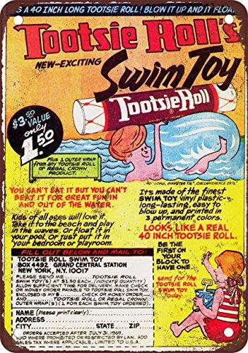 1968-tootsie-roll-di-nuotata-giocattolo-riproduzione-alternatore-metal-look-vintage