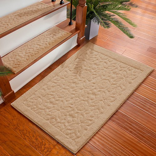 Rowan Embossed Washable Area Rug-2'x3' - Linen