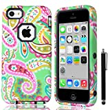 iPhone 5C case, iPhone 5C case cover, iPhone 5C Covers, iPhone 5C case cute, ULAK High Impact Hybrid PC TPU Shock Absorbing Case for Apple iPhone 5C w/ Screen Protector and Stylus - Retail Packaging (Paisley Flower + Black PC)