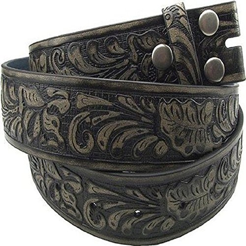 "Hot Buckles Black Leather Flower Embossed Belt (XL(40""-42""))"