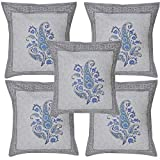 Lalhaveli Indian Handmade Home Decor Hand Block Print Work Cotton Cushion Cover Set 16 X 16 Inches