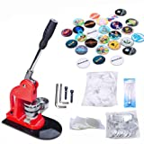 Seeutek 1 inch 25mm Button Maker Machine with 1100 Pcs Button Parts and 1 inch 25mm Circle Cutter (Color: Red, Tamaño: Red 25mm with 1100 pcs)
