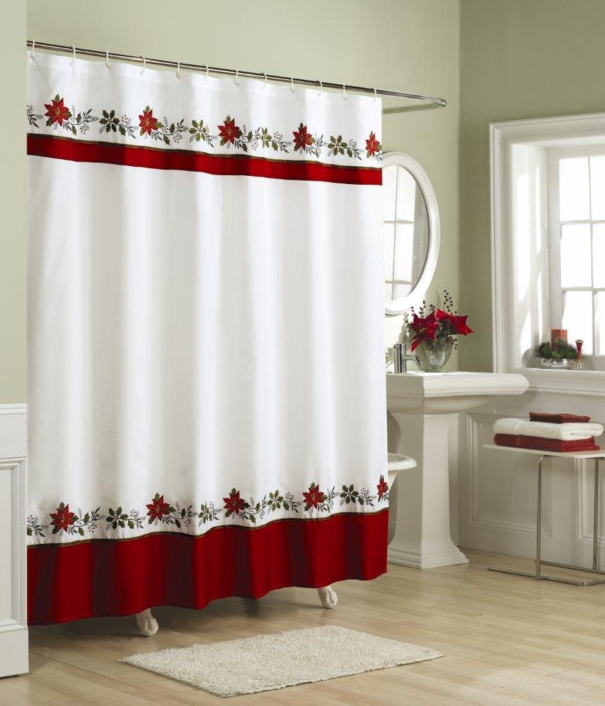 20 christmas shower curtains decorations ideas 2017 uk for Bathroom xmas decor