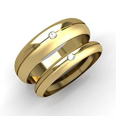 Matching His And Hers Wedding Rings. 9ct Yellow Gold D Shaped Bands Half Polished Half Brushed Matt Finish Each Set With 1 Diamond.